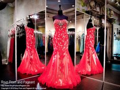 Red Lace over Nude Mermaid Gown-Sweetheart Beaded Neckline-116EC0161190