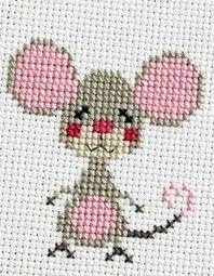 Topino rosa Tiny Cross Stitch, Cross Stitch For Kids, Cross Stitch Borders, Cross Stitch Animals, Cross Stitch Designs, Cross Stitching, Cross Stitch Embroidery, Cross Stitch Patterns, Hand Embroidery Designs
