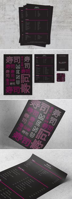 Mojo's - A quirky and bold menu design for a sushi restaurant or bar #menu #bold #sushi