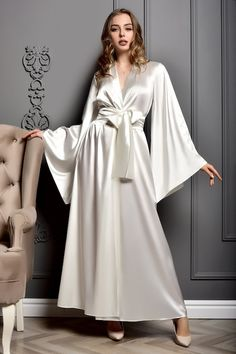 Bride Dressing Gown, Satin Dressing Gown, Lace Bridal Robe, Bridal Gown, Long Gown Dress, Wedding Kimono, Blue Bridal, Bridesmaid Robes, Etsy