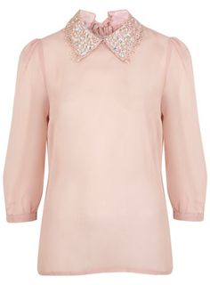 Embroidery Collar top - Winter Pastels  - Clothing