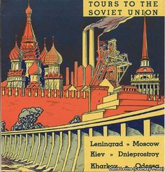 Intourist, the Soviet travel agency, was established in 1929 to attract foreign visitors to the U.S.S.R. Using the classic elements of early communist graphic design, Intourist managed to entice tens of thousands of foreigners (many from the United States) to special tourist sites set up for them in the Soviet Union.
