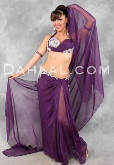 GLITTER GODDESS in Plum and Silver, by Designer Eman Zaki, Egyptian Belly Dance Costume - Dahlal Internationale Store