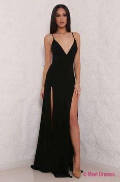 Black Prom Dresses,hot sexy spaghetti straps prom dress,split prom dress,long prom dress,slit side party dress PD20186344
