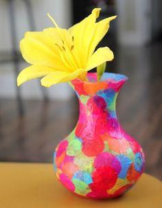 tissue paper and mod podge vase