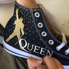 The brand new Queen Confetti design is ready to be ordered! : Get your hands on a pair of the brand new Queen Confetti design today! A must have for any Bohemian Rhapsody fan. Order yours from my website today! Converse Noir, Converse Shoes, Diy Converse, Studded Converse, Custom Painted Shoes, Custom Shoes, Custom Converse, Custom Sneakers, Diy Fashion