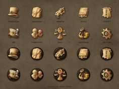 Steampunk Game Icons by Hana Fanda, via Behance Game Gui, Game Icon, Steampunk Wallpaper, Shield Icon, Lucas Arts, Game Development Company, 2d Game Art, Map Icons, Two Player Games