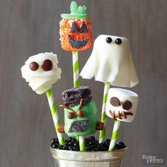 Halloween Marshmallow Pops - A marshmallow, a straw, and your kid's imagination are all you need to create a collection of frightful friends out of marshmallows.