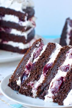 Black Forest Cake Recipe - used high alt flour, 1 1/2 tsp baking powder and 3/4 tsp baking soda; started at 25 degrees higher than dropped when put cake in