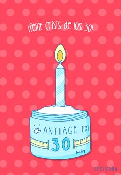 Diseño de tarjetita para cumpleaños de 30.