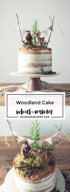 This playful woodland cake is made of flavorful Madeira cake layers and finished with vanilla bean buttercream, matcha moss and Valrhona cacao nibs. via @whiskwander