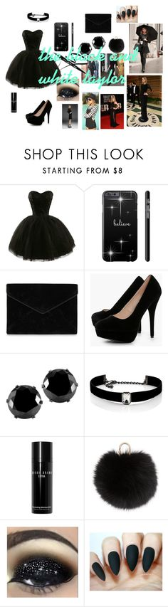 """""""all black and white frm harika"""" by harikagv ❤ liked on Polyvore featuring Rebecca Minkoff, Boohoo, West Coast Jewelry, Kenneth Jay Lane, Bobbi Brown Cosmetics, Yves Salomon, Julien Macdonald and Elie Saab"""