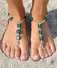 Clear & Emerald Green Beaded Barefoot Sandal