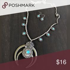 Silver Squash Blossom Necklace Brand new silver we squash blossom necklace with turquoise accent stones. Tags: country girl cowgirl jewelry boots western jewelry earrings Boho gypsy tribal Aztec Navajo southern southwest western rodeo cowgirl style miss me dojo Jewelry Necklaces
