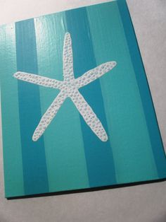 Aqua starfish painting pop art shabby chic beach by CoconutBeech, $20.00