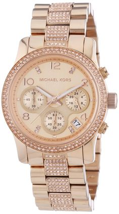 Gold watches for women   women Michael Kors  Runway  Crystal Chronograph  Bracelet Watch 3523870697