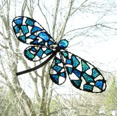 Stained Glass Mosaic Dragonfly Suncatcher by JechoryGlassDesigns