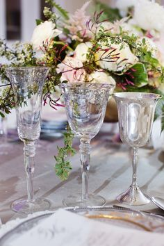 Silver Lace stemware and Silver Goblet: A gorgeous table by Crystal Frasier designs, photography by Helmutwalker, china, stemware, flatware, and chiavari chairs from POSH Couture Rentals, florals by We + You, published by Brides of North Texas, Fall 2013