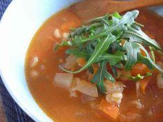 押し麦と野菜の味噌トマトスープの画像