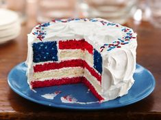 Red, White and Blue Layered Flag Cake. Gonna try it this year. :) I'm going to use while chocolate whipped cream frosting instead of the jarred frosting to combat over sweetness.