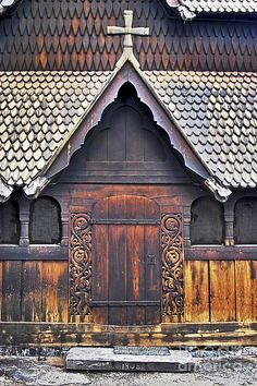 Heddal Stave Church Side Entrance Photograph ~ Norway