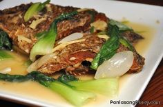 Pesang Isda or Fish in Ginger Stew is one of the dishes that make me consume more steamed rice than the usual. This delightful dish involves cooking medium to large sized fish in a broth that are mainly composed of rice washing and ginger; vegetables such as bok choy or pechay are also included for added flavor and nutrition.