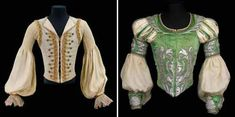 Costume by Nicholas Giorgiadis for Rudolf Nureyev in the role of Prince Florimond in Sleeping Beauty, Teatro alla Scala, Milan, 1966 (left) and costume by Ezio Frigerio and Mauro Pagaono for Rudolf Nureyev in the role of Romeo, Romeo and Juliet, London Ballet Festival, 1977 (right). Collection CNCS/Rudolf Nureyev Foundation. Photographs by Pascal François/CNCS