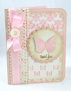 Gorgeous vintage look thank you card.  Love the lace and the butterfly.  Soft green and pinks
