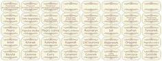 Etykiety przypraw - Hledat Googlem Spice Jar Labels, Spice Jars, Spices, Personalized Items, Spice