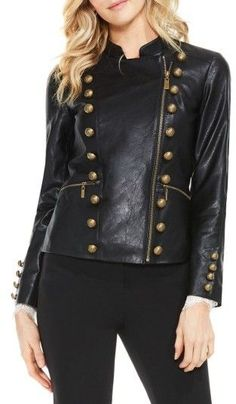 This stylish stand collar military jacket is a classic choice for your collection. Designed with a soft pleather fabric and antique polished buttons, this on-trend jacket will layer well with vintage-inspired blouses and pants. Military Field Jacket, Military Jacket Women, Military Style Jackets, Blazer Jackets For Women, Military Fashion, Fashion To Figure, Faux Leather Jackets, Pu Leather, Jackets