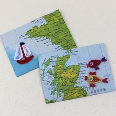 PaperQuillingEnvelopesMapAtlas -Mini-Small-Gift Card Holder-Quilled-Boat-Fish Set of Birthday Paris-Scotland-OOAK Enchanted Quilling Quilling Ideas, Kids Cards, Sea Creatures, Small Gifts, 2nd Birthday, Envelopes, Enchanted, Postcards, Boats