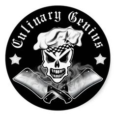 Chef Skull 2: Culinary Genius (3 inch) Chef Skull 3: Culinary Genius (3 inch) Sticker for those with a fierce passion for cooking.