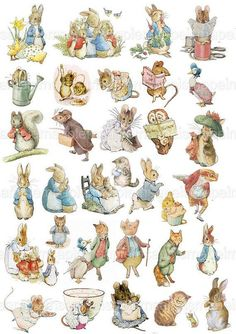 32 Peter Rabbit and Friends Clip Art Transparent PNG Files Peter Rabbit Characters, Beatrix Potter Illustrations, Egg Pictures, Peter Rabbit And Friends, Rabbit Illustration, Rabbit Art, Digital Collage, Collage Sheet, Art Images