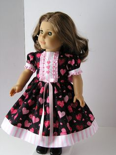 Valentines Day Dress for 18 Inch Doll by blinkersoh on Etsy, $16.00