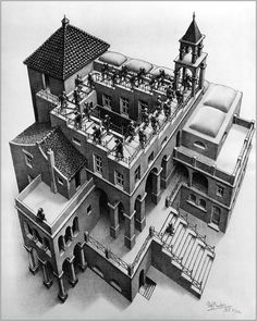 He was dismissed by the art world and venerated by mathematicians … he rejected both Mick Jagger's and Stanley Kubrick's attempts to schmooze him. So who was the mysterious MC Escher, master of illusion? Magritte, Illusion Kunst, Illusion Art, Point Perspective, Perspective Drawing, Op Art, Triangle De Penrose, Escher Kunst, Mc Escher Art