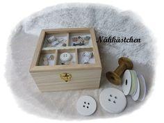 Nähkästchen Nähkorb im Vintage Look von Die Geschenkidee auf DaWanda.com