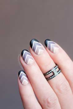 Cool geometric nails. HOW-TO: http://sonailicious.com/gradient-nail-art-tutorial/