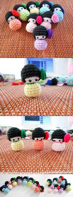 Amigurumi Kokeshi crochet doll Bag charm by Chieu C