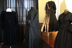 Four examples of Heavy Mourning attireFrom Left:c. 1930s Mourning Dress, velvetc. 1860s Mourning Jacket (skirt reproduction, courtesy of The Costume People)c. 1890s Mourning Dress, cottonc. 1850s Mourning Dress (reproduction, courtesy of The Costume People)Mourning After: The Victorian Celebration of Death is on now at the Oshawa Community Museum