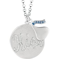"""Sterling Silver HERSHEY'S KISSES 1/5 ct tw Diamond """"Kiss"""" Disc 18"""" Necklace"""