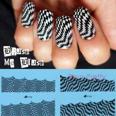 USD $2.99 4pcs Nail Water Decals Stickers Black Stripe Ripple Triangle Moon Star Round - BornPrettyStore.com