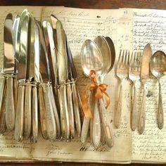 Vintage hotel silverware set.