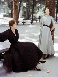 Christian Dior for Vogue, 1947 vintage fashion style 40s 50s black grey dress silver day afternoon pleats