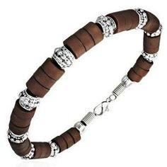 Men's Bracelet Surfer Style Brown Bead Bracelet Men's Jewellery #mensfashion #mensjewellery