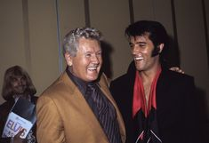 "kingpresley: "" kingpresley Elvis Presley with his father Vernon at Las Vegas press conference,International Hotel,1969 """