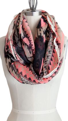 Coral tribal infinity scarf