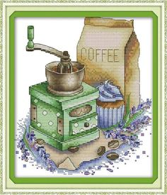 Items similar to Coffee & Grinder DIY Cross Stitch Kit Marked Pattern Handcraft Wall Decor Gift on Etsy Cross Stitch Fabric, Cross Stitch Rose, Cross Stitch Kits, Simple Pictures, Back Stitch, Picture Sizes, Canvas Size, Needlework, Decorative Boxes