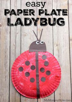 Easy paper plate ladybug. Fun preschool ladybug craft to go along with the Grouchy Ladybug or Ladybug Girl books or bug week theme.