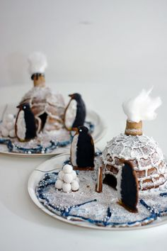 Penguins and gingerbread igloos