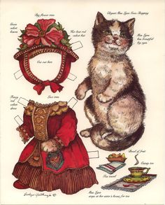 Elegant Miss Lynn Cat paper doll card
